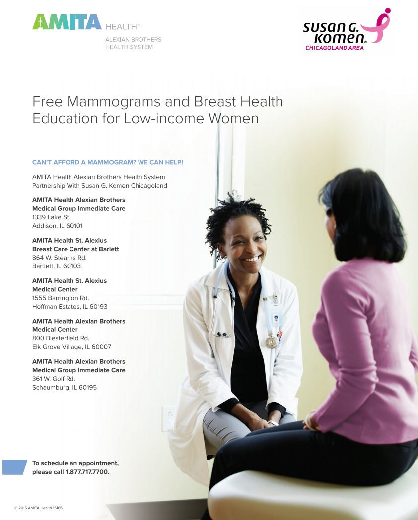AMITA Health Mammogram Flyer