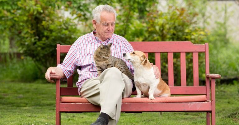 senior with pets